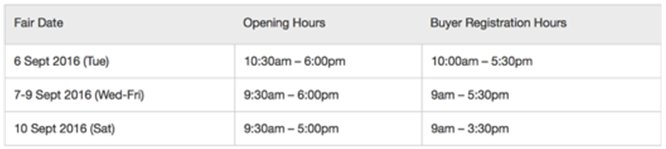 Opening hours HKDCT 2016